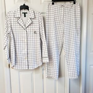 Lauren Ralph Lauren Park Ave Sateen Pajama Set L